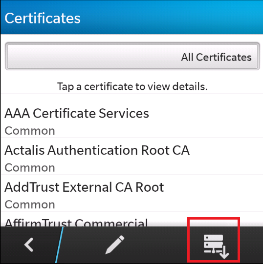 Importing certificates in Blackberry