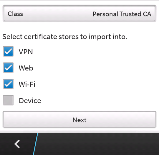 Installing a new certificate in Blackberry