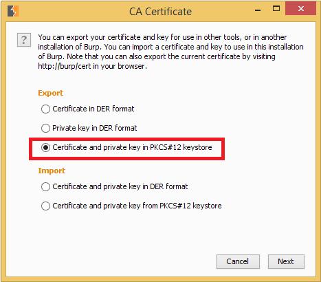 Exporting CA using Burp