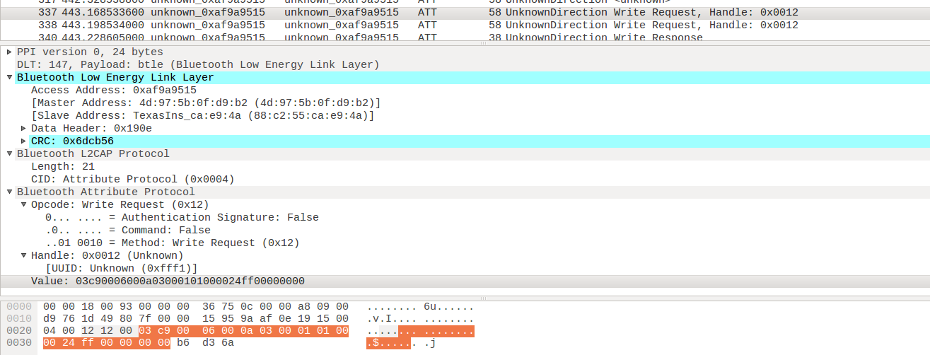Wireshark showing write packets for BLE
