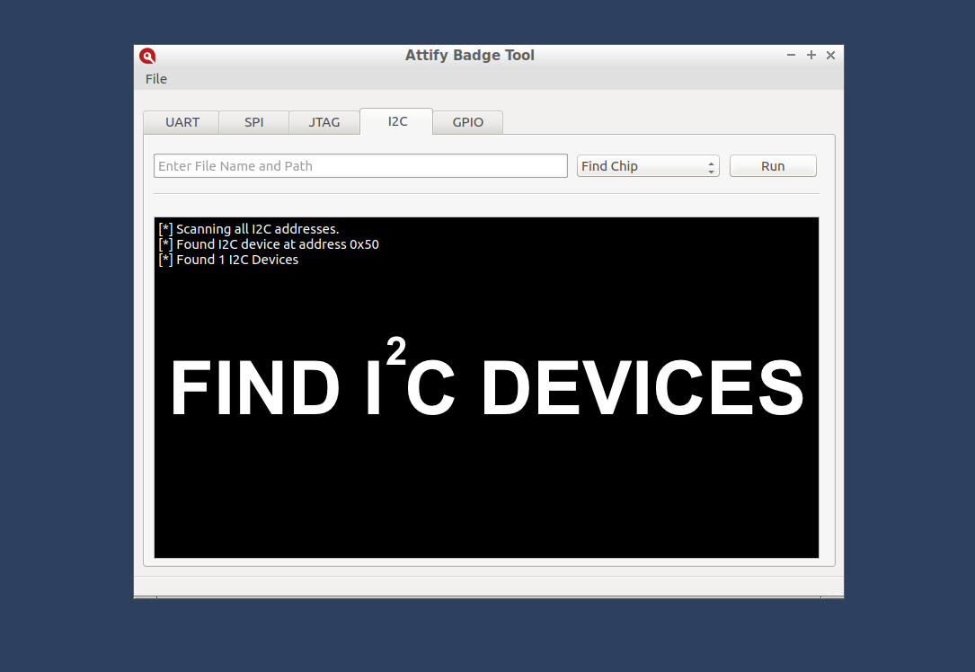Find I2C devices using Attify Badge tool