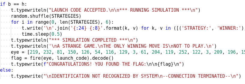 Figure 15: The correct launch code gives us the flag