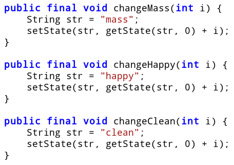 Figure 6: The changeXXX methods make the change to state variables