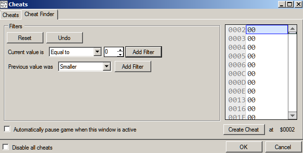 Figure 3: Using Cheat Finder