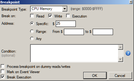 Figure 7: Setting a memory write breakpoint