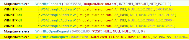 Figure 2: POST request to mugatu.flare-on.com