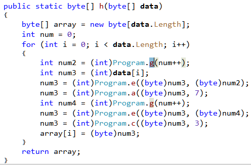 Figure 17: Call target changed to Program.g