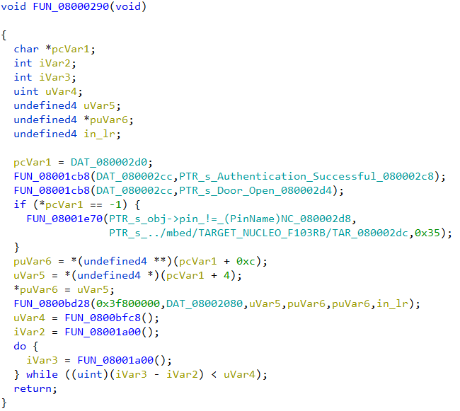 Decompiled code listing of FUN_08000290