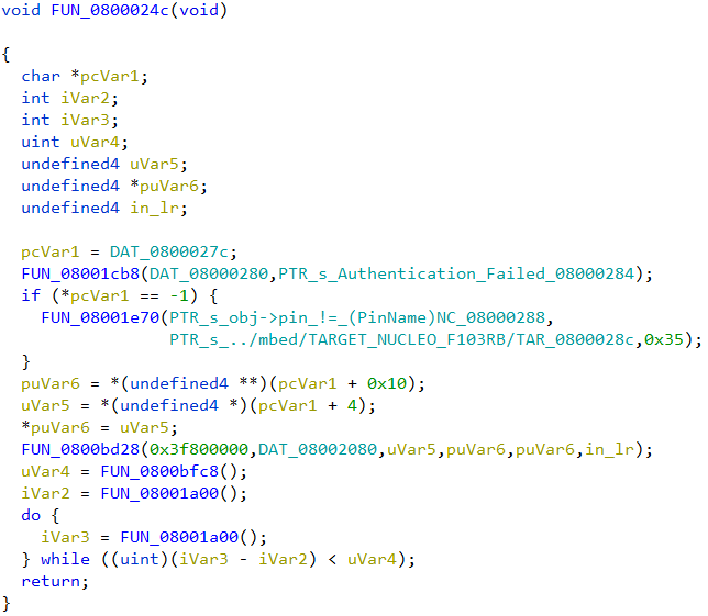 Decompiled code listing of FUN_0800024c