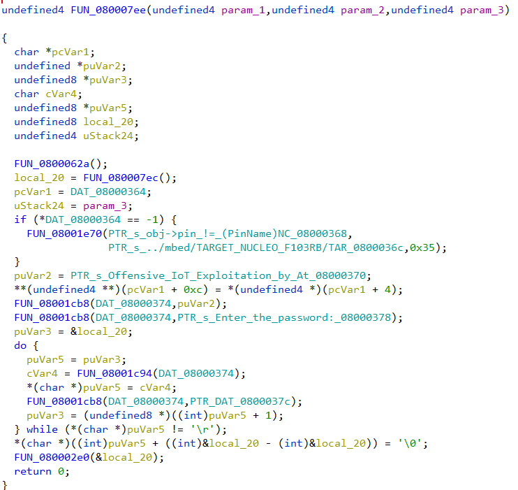 Decompiled code listing of FUN_080007ee